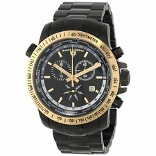 SWISS LEGEND 10013-BB-11-GB WORLD TIMER BLACK DIAL GOLD BEZEL STAINLESS STEEL!