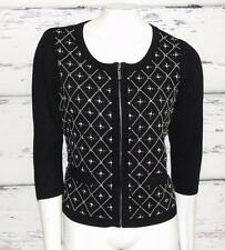 WHITE HOUSE BLACK MARKET *EMBELLISHED-STUDDED* 3/4 SLEEVE~ZIP CARDIGAN SWEATER~L