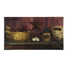 New Primitive Country Rooster Chicken Barn Star Coffee Grinder Canvas Picture