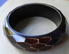 vintage wide chunky brown cream geometric texture bangle bracelet 80s style D417