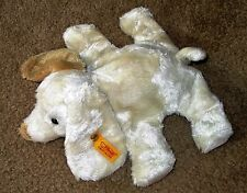 "STEIFF 110092 GERMANY PUPPY DOG PLUSH CREAM SPOT EYE BEAN BAG 10"" EXC COND"