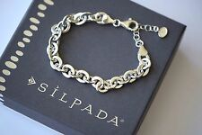 "Silpada NEW ""Link"" Sterling Silver Chic Italian Made Lightweight Bracelet B3414"