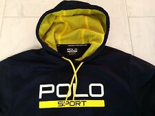 NWT POLO RALPH LAUREN PERFORMANCE  LS NAVY BLUE HOODIE SWEATSHIRT SMALL