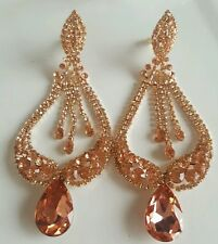 BRIDAL EVENING ROSE GOLD RHINESTONE CRYSTAL CHANDELIER TEARDROP CLIP ON EARRINGS