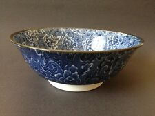 """2 PCS. 8-1/8"""" Japanese Chinese Rice Soup Noodle Bowl Blue Floral, Made in Japan"""