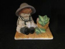 """Little Boy Holding Lambs Sheep sitting next to basket by ANCO 1989 3 1/2"""" tall"""