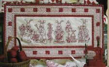 Crabapple Hill 'BUNNY BUNCH TABLE RUNNER' Embroidery Redwork