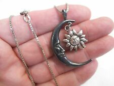 "Vintage Sterling Silver Man in Crescent Moon and Sun Pendant 24"" Necklace"