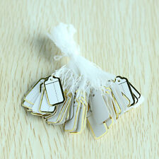 500pcs Golden Border White Label Ticket Tag Jewelry Price Tags String