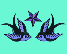 3 LOT PURPLE & BLACK SWALLOWS NAUTICAL STAR Bird Embroidered Iron/Sew On Patch