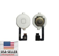 New White Home Menu Button Flex Cable + Key Cap assembly for Apple iPhone 4 4G