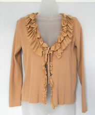 BETTY BARCLAY (UK14 / EU42) CAMEL 3/4 SLEEVE TIE-FRONT CARDIGAN WITH COIN DETAIL