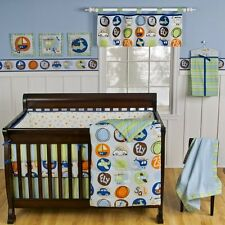 "NEW SUMERSAULT ""LITTLE GETAWAY"" 11 PC CRIB BEDDING SET W/ CIRCO CARS WALL DECALS"