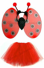 Ladybird Wings and Red Tutu Girls Fancy Dress Costume Set Halloween Party Wing