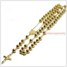 4/6/8mm Mens Womens Stainless Steel Silver/Gold/Black Bead Rosary Chain Necklace