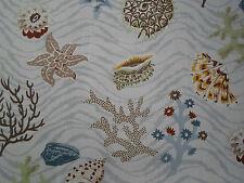 Cowtan & Tout Fabric 'Barbados' 9.75 METRES Aqua/Taupe 100% Linen 11182-01