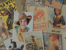 Lot of 12 Vintage COWBOY COWGIRL WESTERN DIE CUTS for CRAFTING | M8 | Ships FREE