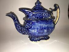 Historical Staffordshire Dark Blue Teapot Macdonoughs Victory Ca. 1825