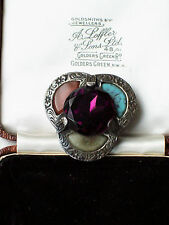VINTAGE JEWELLERY SIGNED MIRACLE SCOTTISH CELTIC SILVER AGATE AMETHYST BROOCH