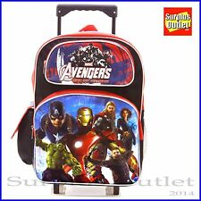 "Marvel Avengers 16"" Large Rolling School Backpack Roller Age of Ultron"
