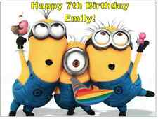 """Minions Despicable Me Personalised Cake Topper Edible Wafer Paper 7.5"""" by 10"""""""