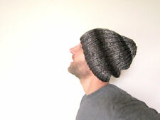 Mens Slouchy Beanie Knit Hat Unisex Knitted Cap Oversized Hat Striped Warm Gray