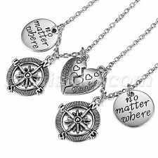 Mother Daughter Best Friends No Matter Where Heart Compass Pendant Necklace Set