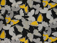 "Alexander Henry yellow & black butterfly fabric Whisper Wing fat quarter 18""x22"""
