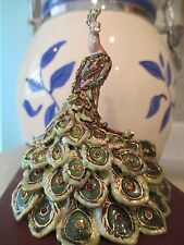 PEACOCK BEJEWELED &   ENAMEL TRINKET BOX #4007