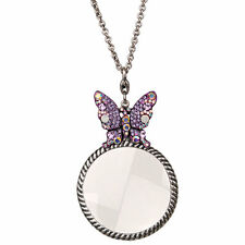 NEW KIRKS FOLLY BEAUTIFUL DREAMER BUTTERFLY MAGNIFYING GLASS NECKLACE SILVERTONE