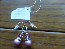Genuine Swarovski Elements Rose Pink Crystal + Pearl Earrings  +  Gift Bag