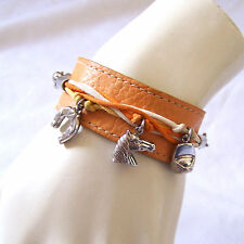 Artisan Signed Equestrain Sterling  Wide British Tan Leather Bracelet Charms