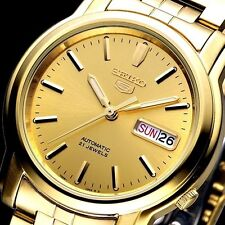 Seiko 5 Automatic Mens Watch Gold Plated See Through Back SNKK76K1 UK Seller