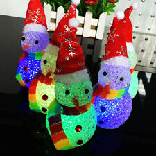 New Led Crystal Night Light-emitting Toys Colorful Christmas Snowman For Party