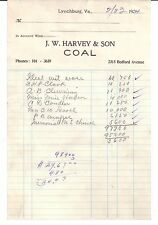 1934 J. W. HARVEY & SON Coal 2315 Bedford Avenue LYNCHBURG Virginia