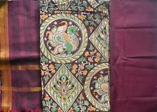 Cotton dress material Kalamkari top with Mangalgiri - Peacock green Maroon