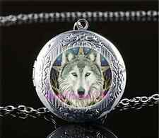 Wicca Wolf Head Photo Cabochon Glass Tibet Silver Locket Pendant Necklace#Y32