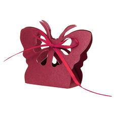 50 x Boîte de Faveur Mariage à Ruban pour Dragée Bonbon Chocolat PAPILLON ROUGE