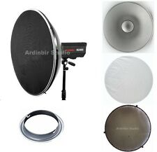 "22"" Studio Grid Beauty Dish Reflector white Diffuser Elinchrom Monolight Light"