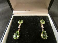 Beautiful Vintage Quality 9ct gold Peridot & Diamond Drop Earrings, Boxed