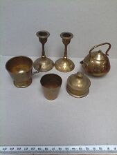Vintage miniature brass 6 piece set: 2 candlesticks, cup, trinket box, mug,