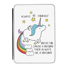 Unicorn 'Always Be Yourself' Quote iPad Mini 1 2 3 PU Leather Flip Case Cover