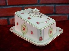 Antique Rosslyn Albion Pottery French Country Pink Green COVERED CHEESE DISH