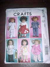 "McCall's Crafts Doll Clothes Patterns for 18"" girl doll and toy dog"