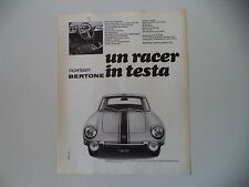 advertising Pubblicità 1969 FIAT BERTONE RACER TEAM