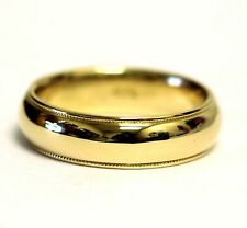 14k yellow gold mens gents milgrain wedding band ring 6mm comfort fit 8g vintage