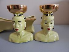 Mid Century Head Vase Centerpiece Set Chartreuse & Gold Nubian Stanford Pottery