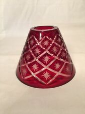 "Bohemian Czech Ruby Red Cut To Clear Glass Candle Oil Lamp Shade 4.25""T Gorgeous"