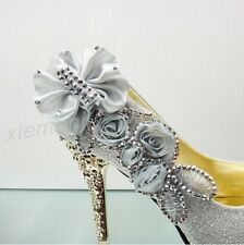 Womens Gorgeous Wedding Bridal Party Rhinestone Glitter High Heels Evening Shoes