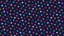 "Bright STARS on Navy 100% Cotton fabric Makower Size 22"" x 18"" larger available"